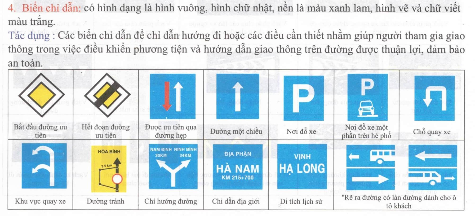 Biển báo chỉ dẫn trong bộ biển báo giao thông