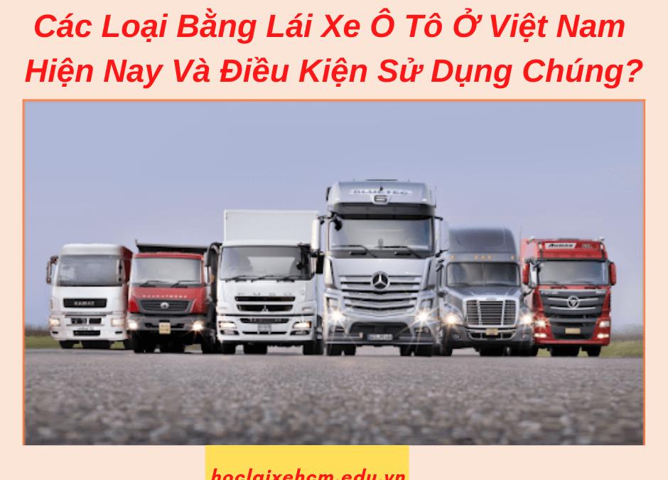 Các LoạiBằng Lái Xe Ô Tô Ở Việt Nam Hiện Nay